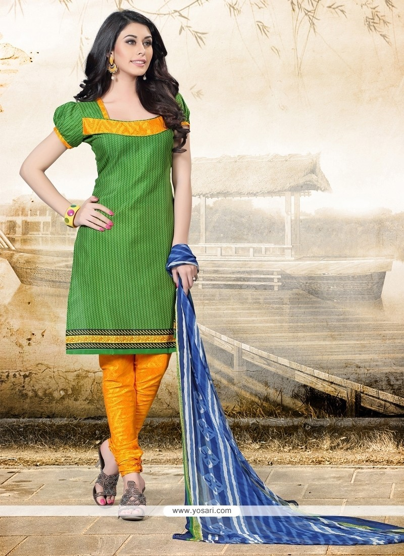 Refreshing Cotton Green Print Work Churidar Designer Suit