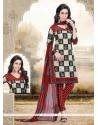 Latest Print Work Red Cotton Churidar Designer Suit
