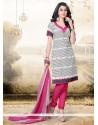 Exceptional Cream And Pink Churidar Designer Suit