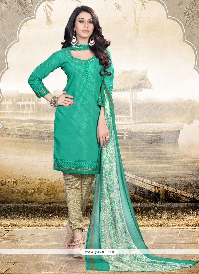 Savory Print Work Sea Green Churidar Designer Suit