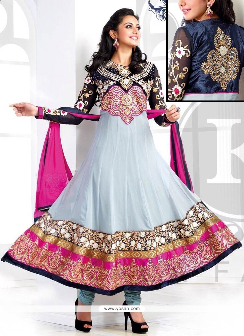 Girlish Grey Georgette Anarkali Suit