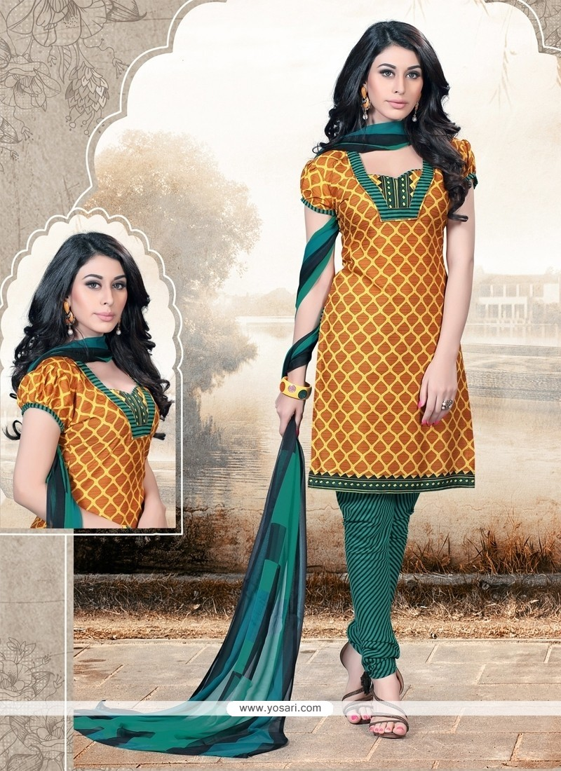 Exceeding Cotton Mustard Print Work Churidar Designer Suit