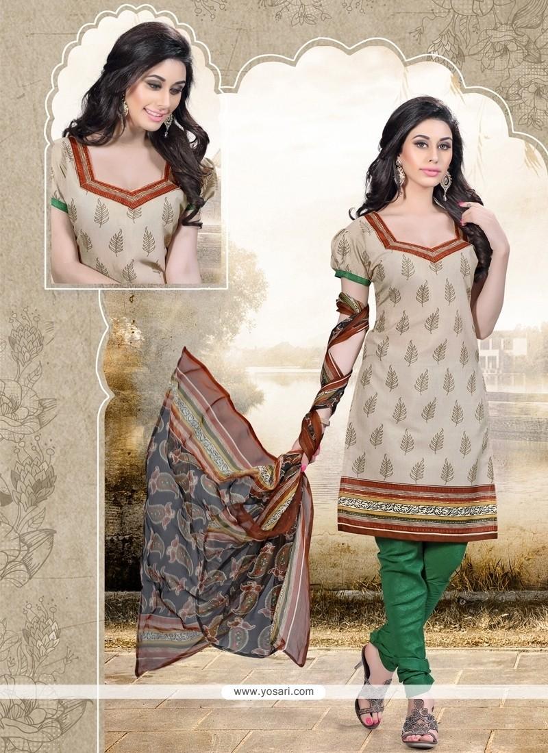 Exceptional Cotton Print Work Churidar Designer Suit