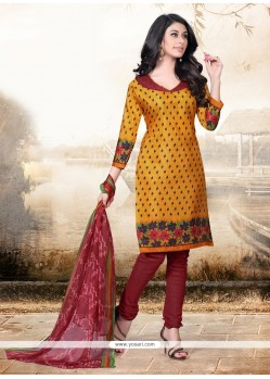 Stunning Print Work Cotton Mustard Churidar Designer Suit