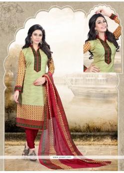 Multi Colour Cotton Churidar Designer Suit