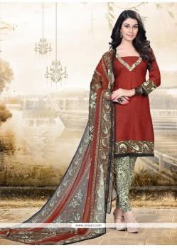 Phenomenal Print Work Churidar Designer Suit
