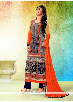 Blue And Orange Georgette Designer Pakistani Suit