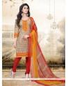 Desirable Print Work Multi Colour Cotton Churidar Designer Suit