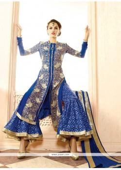 Lordly Blue Georgette Designer Palazzo Salwar Suit
