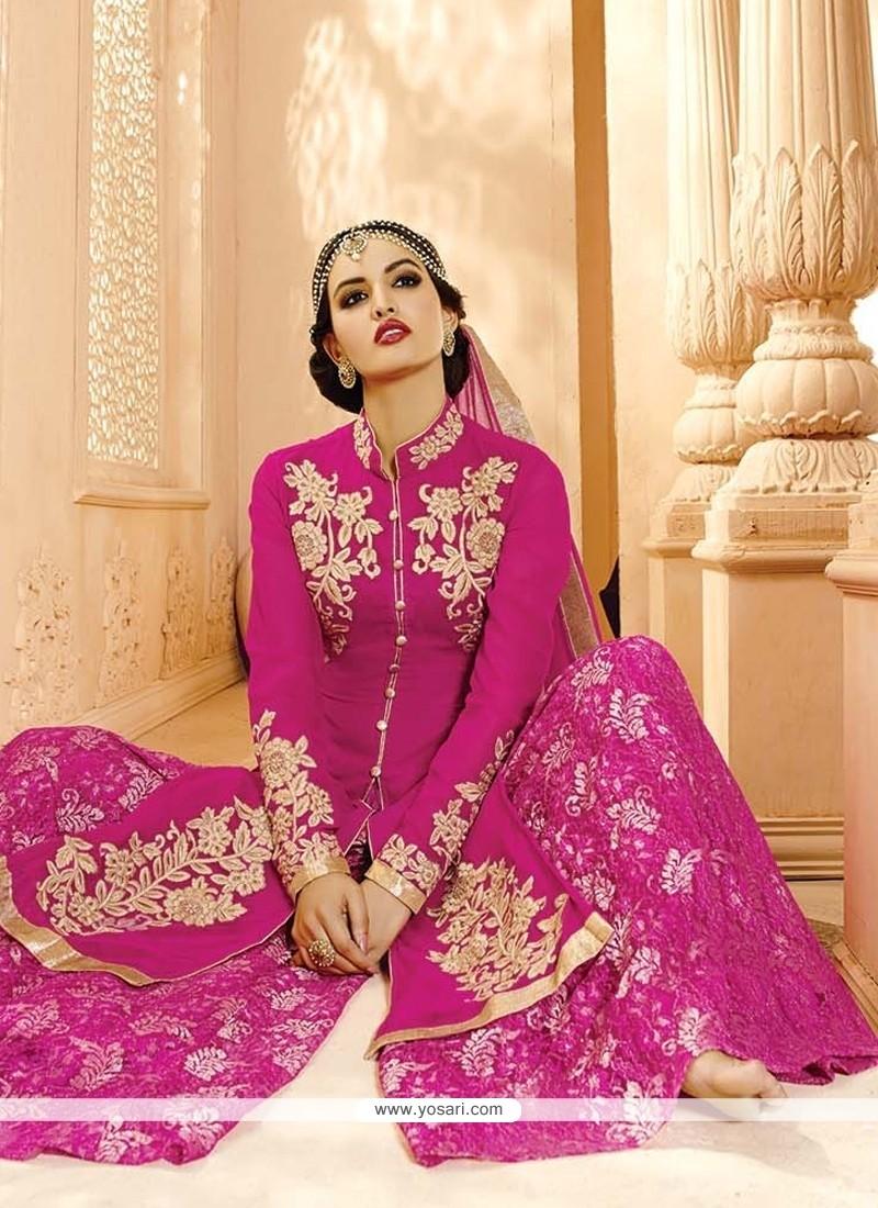 Classy Hot Pink Designer Palazzo Salwar Suit