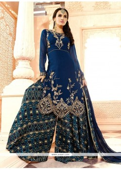 Congenial Embroidered Work Georgette Designer Palazzo Salwar Suit