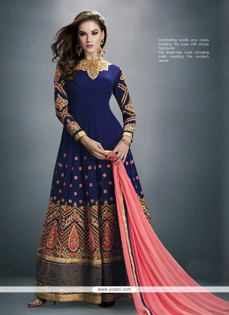 Innovative Georgette Embroidered Work Anarkali Salwar Suit