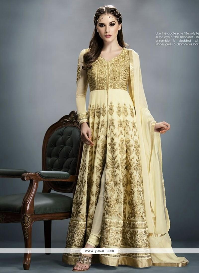 Scintillating Cream Resham Work Designer Salwar Suit