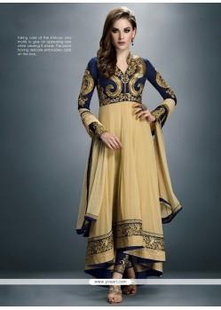 Modish Cream Zari Work Georgette Anarkali Salwar Suit