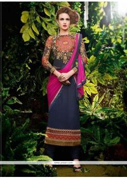 Snazzy Embroidered Work Blue Georgette Designer Straight Salwar Kameez