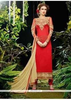 Riveting Georgette Red Resham Work Designer Straight Salwar Kameez