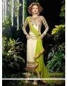 Artistic Georgette Cream Designer Straight Salwar Kameez
