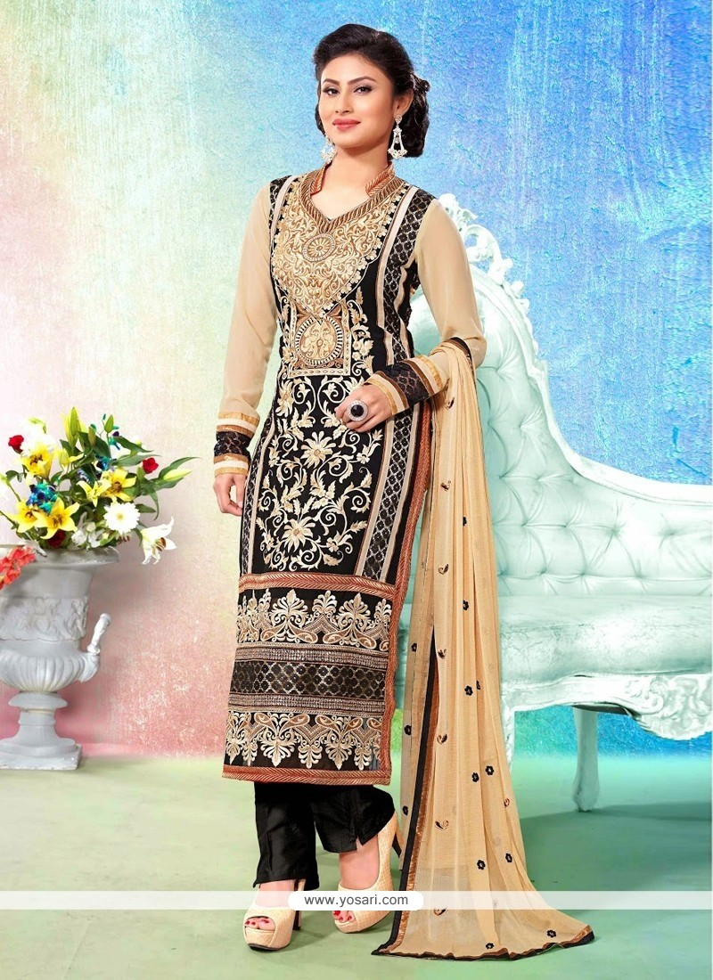 Black And Beige Resham Pakistani Suit