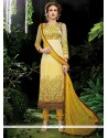 Stupendous Georgette Yellow Resham Work Designer Straight Salwar Kameez