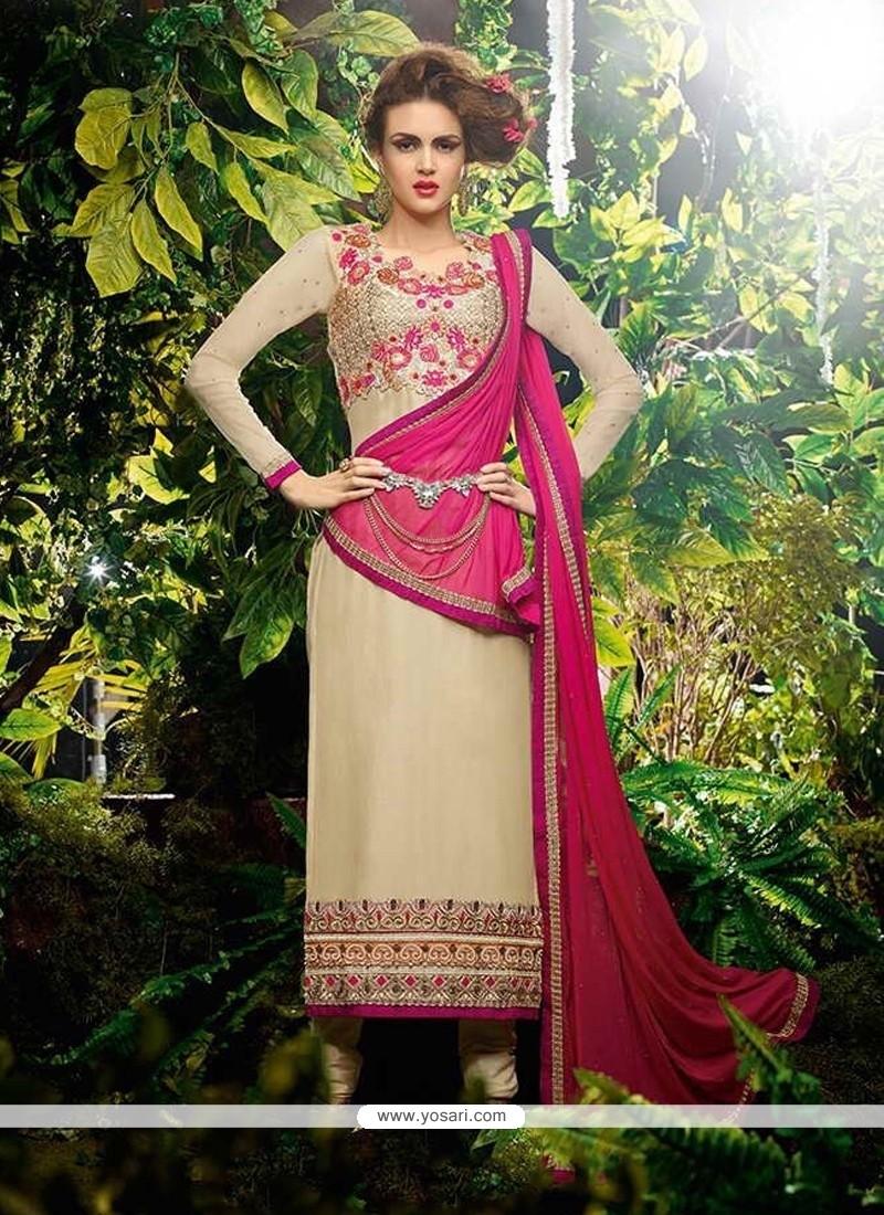 Enchanting Resham Work Beige Georgette Designer Straight Salwar Kameez