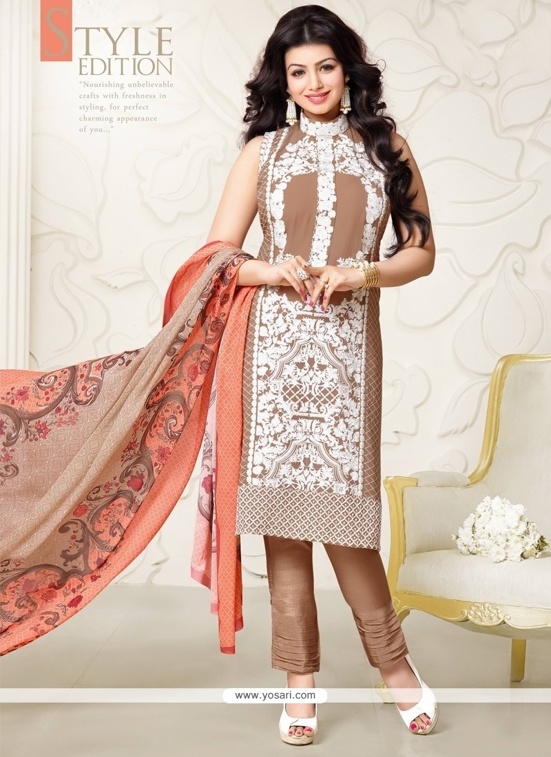 Ayesha Takia Brown Designer Straight Salwar Kameez