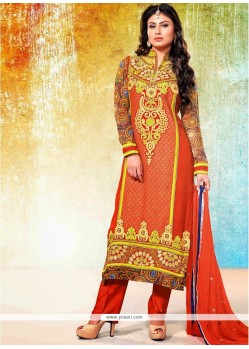 Fascinating Orange Georgette Pakistani Suit