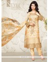 Ayesha Takia Cream Embroidered Work Designer Straight Salwar Suit