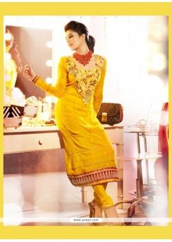 Splendid Yellow Embroidery Work Churidar Salwar Suit