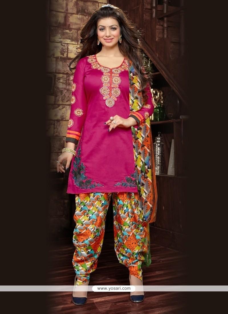 Miraculous Resham Work Hot Pink Cotton Designer Patila Salwar Suit