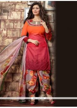Enthralling Red And Orange Embroidered Work Cotton Designer Patila Salwar Suit