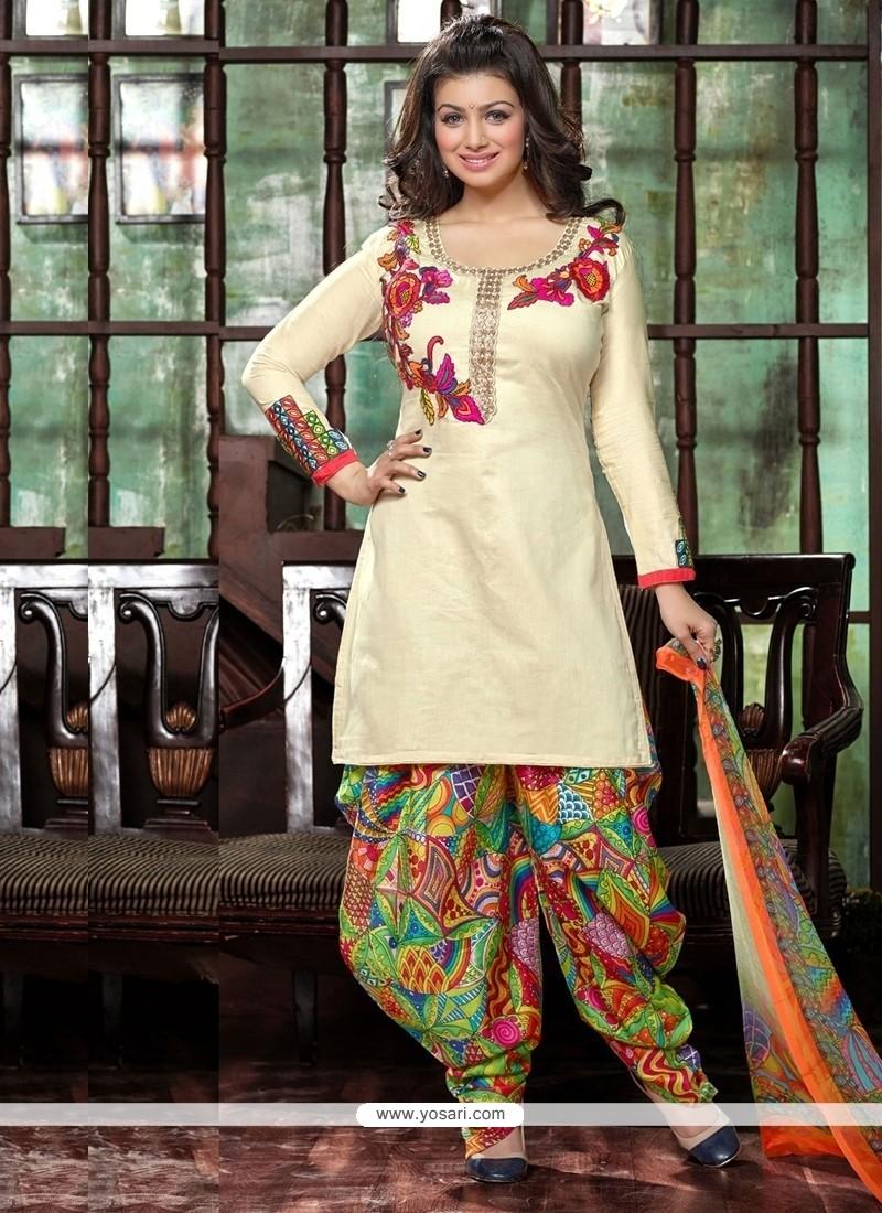 Exciting Cotton Cream Embroidered Work Designer Patiala Suit