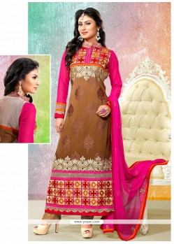 Magenta And Brown Embroidery Pakistani Salwar Suit