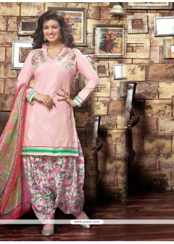 Bedazzling Embroidered Work Cotton Designer Patiala Suit