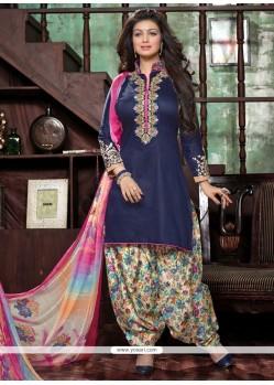 Brilliant Embroidered Work Blue Cotton Designer Patiala Suit