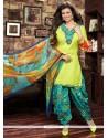 Immaculate Cotton Yellow Resham Work Designer Patiala Salwar Kameez