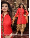Elite Red Cotton Designer Patiala Suit