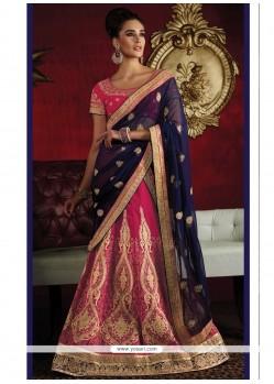 Voguish Hot Pink Embroidered Work Raw Silk Lehenga Saree
