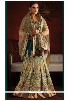 Titillating Raw Silk Kasab Work Lehenga Saree
