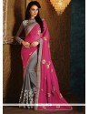 Glorious Viscose Grey And Hot Pink Half N Half Designer Saree