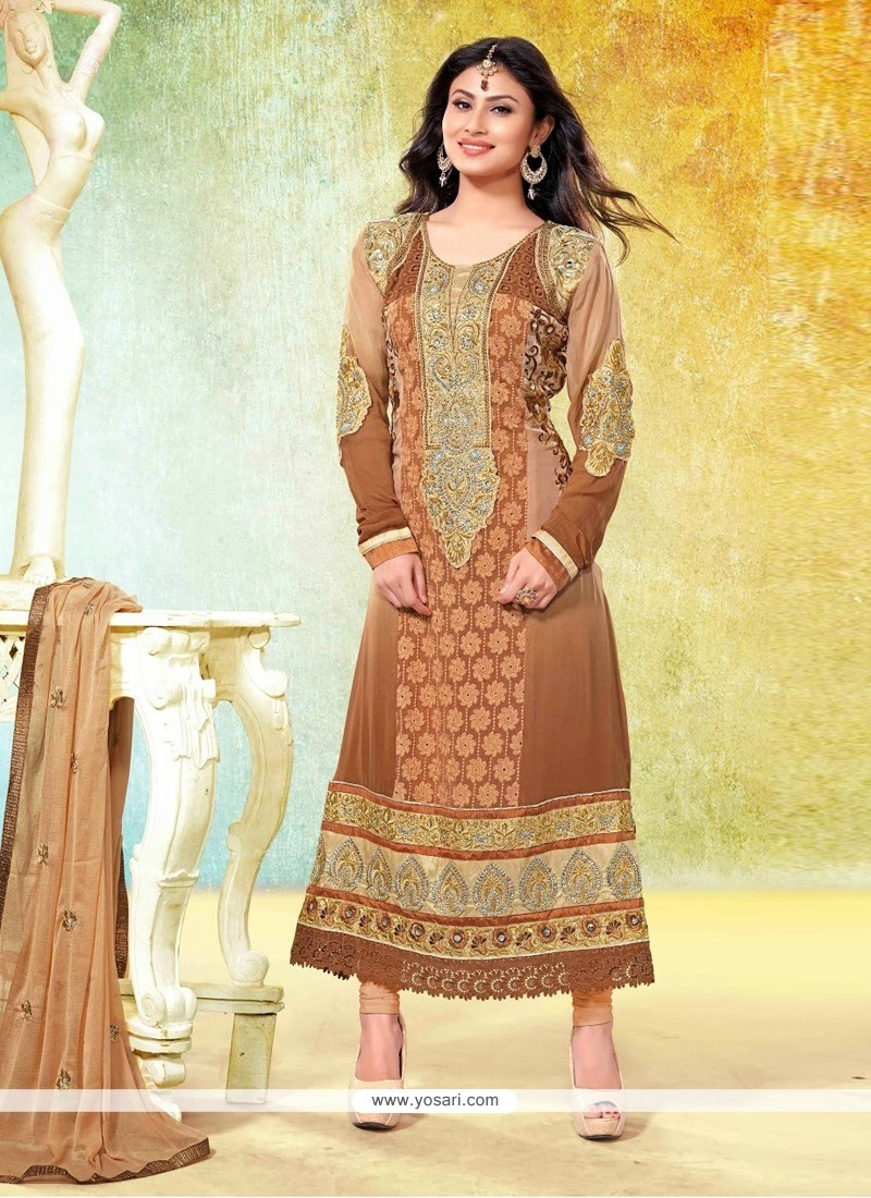 Phenomenal Brown Embroidery Churidar Suit
