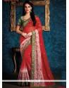 Sensible Red Embroidered Work Faux Chiffon Designer Saree