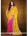 Pleasing Georgette Hot Pink And Yellow Half N Half Designer Saree