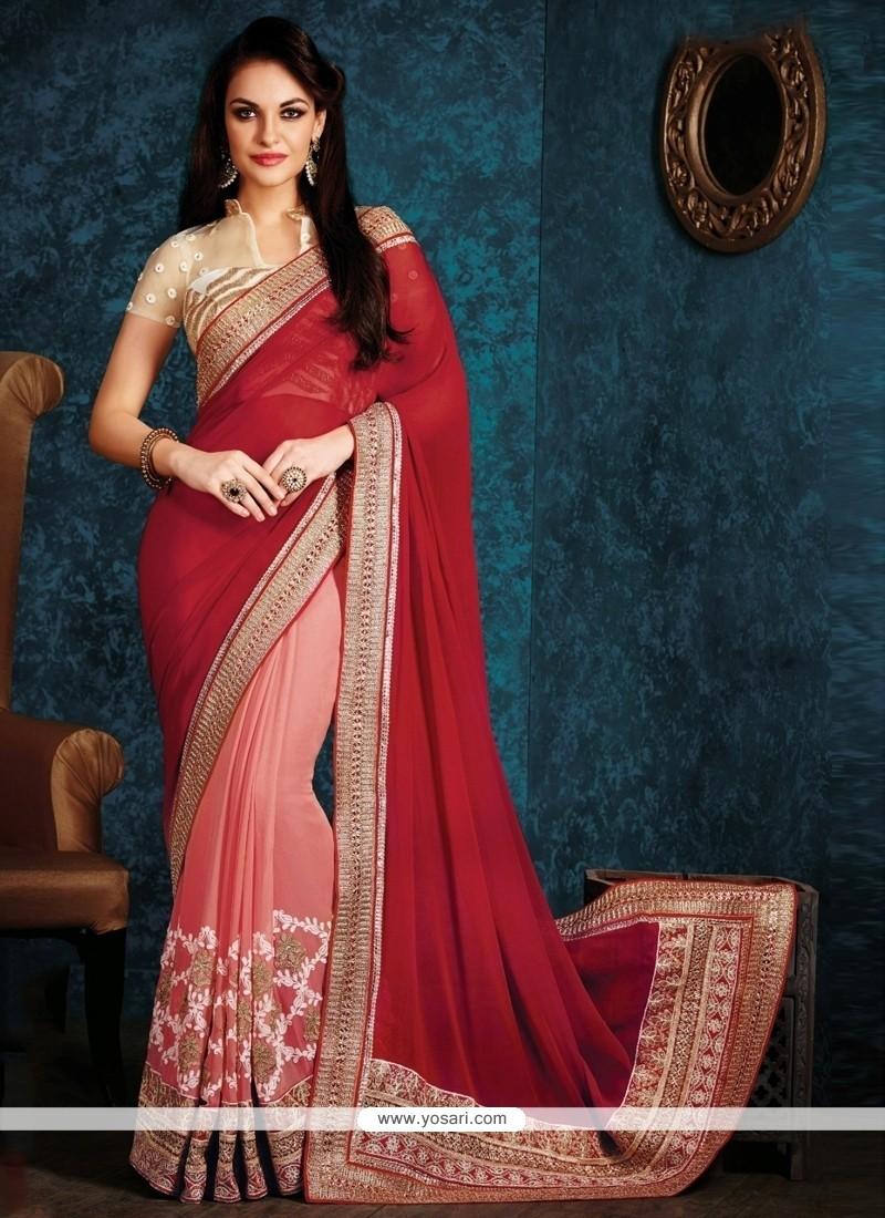 Pleasing Red Half N Half Designer Saree