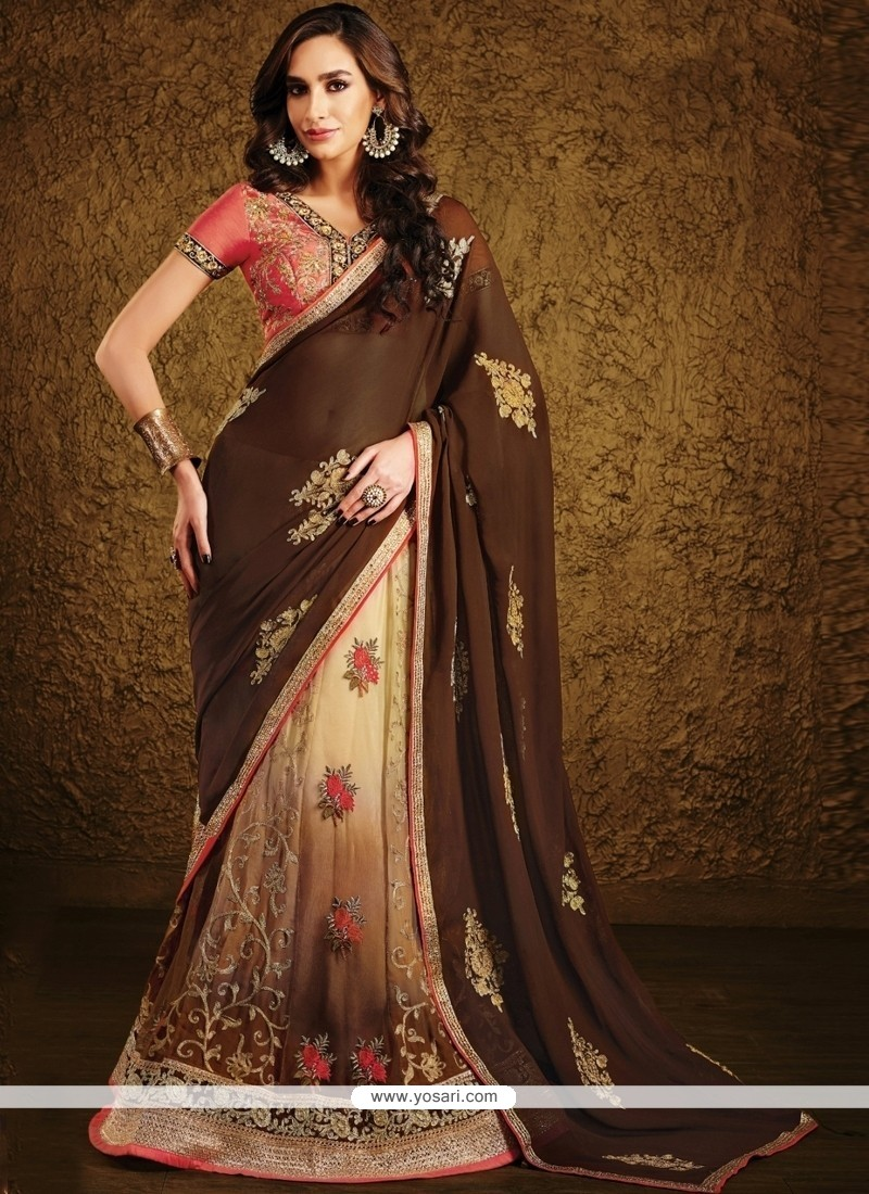Perfect Brown Lace Work Lehenga Saree