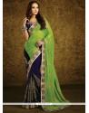 Topnotch Blue And Green Half N Half Designer Saree