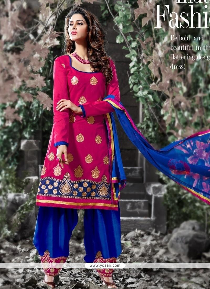 Hot Pink And Blue Chanderi Designer Salwar Suit