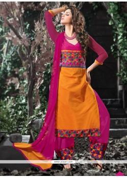 Blissful Hot Pink Lace Work Cotton Designer Salwar Suit
