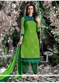 Amazing Embroidered Work Cotton Green Designer Salwar Suit