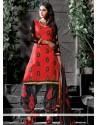 Attractive Chanderi Embroidered Work Designer Salwar Suit