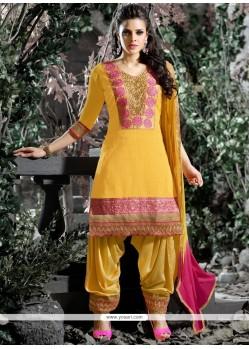 Fab Chanderi Embroidered Work Designer Salwar Suit